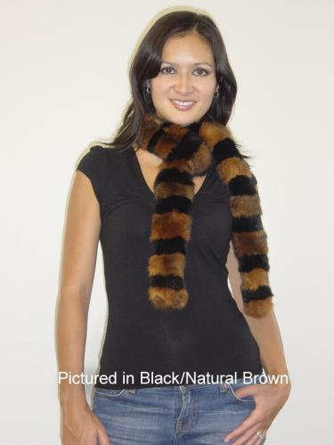Black/Natural Brown Possum Fur Harlequin Scarf