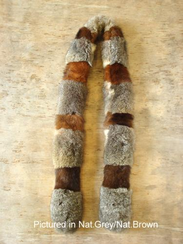 Natural Grey/Natural Brown Possum Fur Harlequin Scarf
