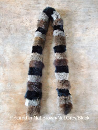 Natural Grey/Natural Brown/Black Possum Fur Harlequin Scarf