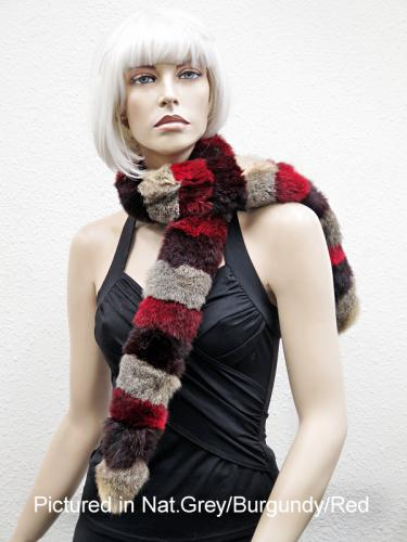 Natural Grey/Burgundy/Red Possum Fur Harlequin Scarf