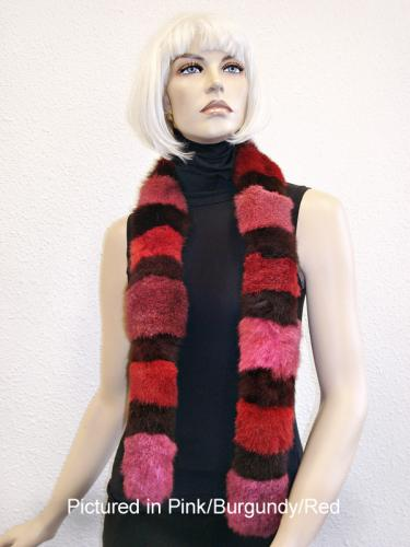 Pink/Burgundy/Red Possum Fur Harlequin Scarf