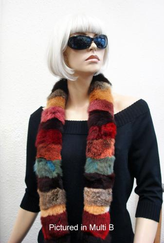 Multi B Possum Fur Harlequin Scarf