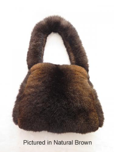 Natural Brown Possum Fur Tailored Bag