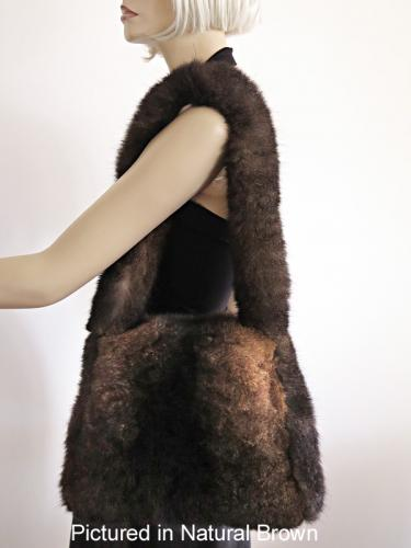 Natural Brown Possum Fur Shoulder Bag