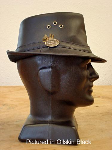 Black Cowskin Leather Trilby Hat