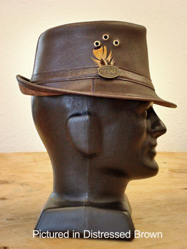 Brown Cowskin Leather Trilby Hat